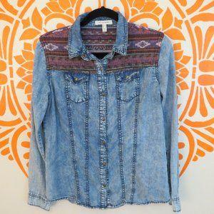 Life In Progress Denim Shirt W/ South West Fabric